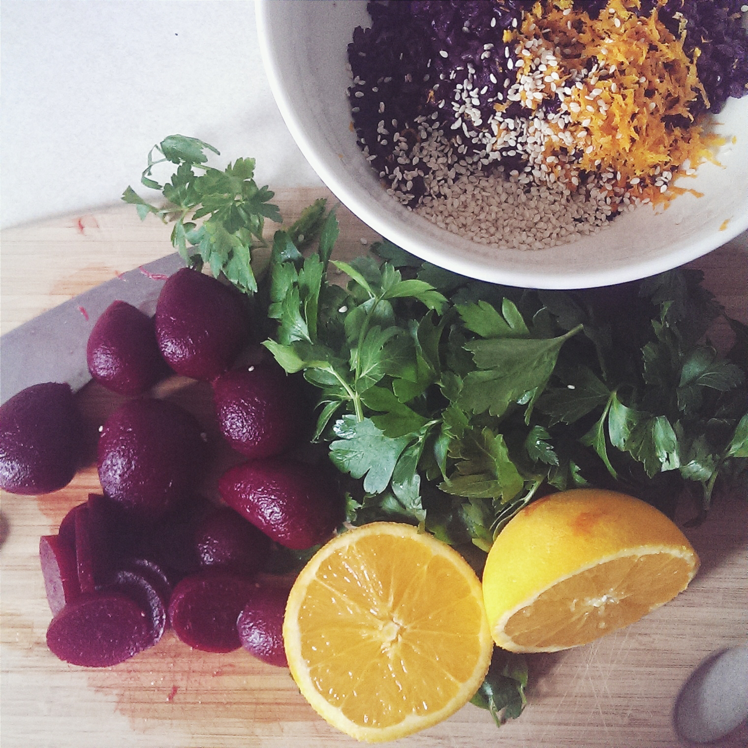 making beet salad