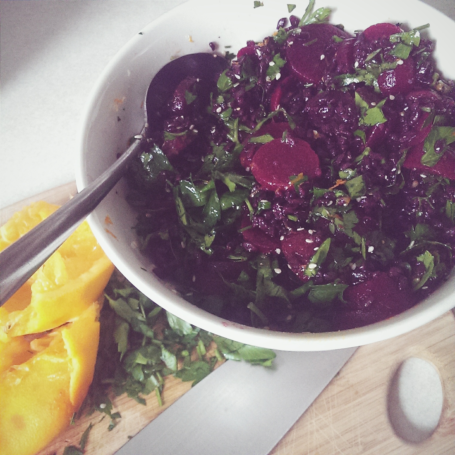 vegan beet black rice salad