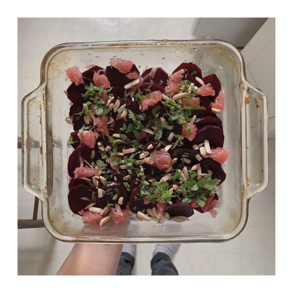 Beet and grapefruit salad